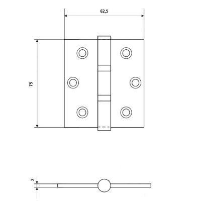 620-213 LARS Петля прямоугольная 3х2,5х2 2BB BP золото (75х62,5х2)
