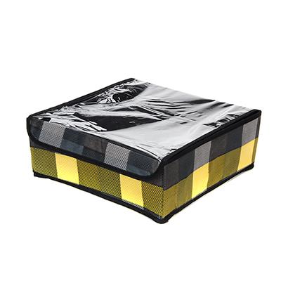 """457-374 VETTA Кофр для хранения мелочей """"Клетка"""" с прозрачной крышкой 16 ячеек 32x32x12см, спанбонд"""