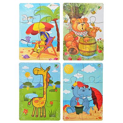 """262-400 МАСТЕР ИГРУШЕК Пазл """"Животные"""", 4-6 элементов, дерево, 14x10см, 4 дизайна"""