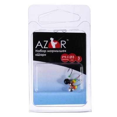 125-045 AZOR Набор мормышек 3шт, шар O3 мм (медь, черный, серебро)