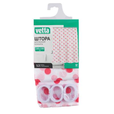 461-476 VETTA Шторка для ванной, ПЕВА, 180x180см, 3 дизайна, в мягкой уп.