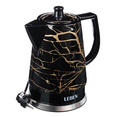 Чайник керамический 1,2л, 1200Вт, скрытый нагр.элемент, черный