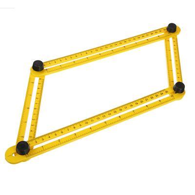 469-190 Линейка-шаблон строительная складная для измерения угловых расстояний, 31см, ABS пластик, желтая