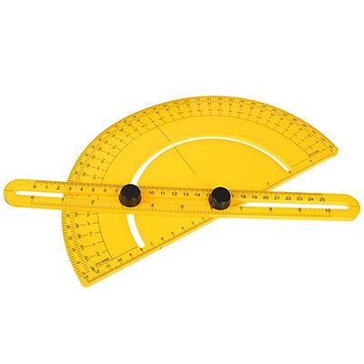 469-191 Транспортир-шаблон строительный складной для измерения угл расстояний, 30x15см, ABS пластик, желтый