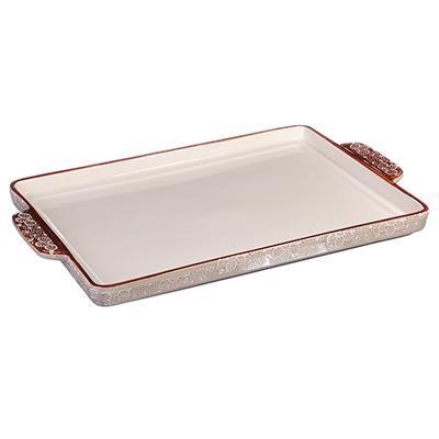 826-250 MILLIMI Форма для выпечки и сервировки пирогов, прямоугольная с ручками, керамика, 41х25,5х3см, беже