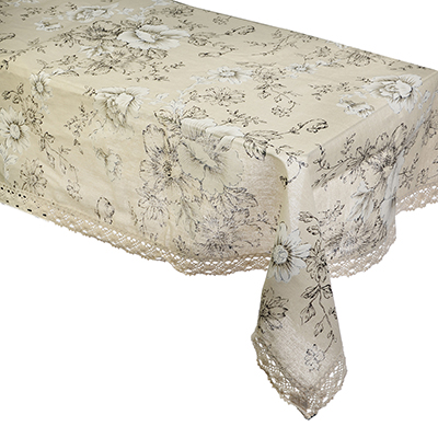 435-071 Скатерть на стол льняная с кружевом круглая, полиэстер, d140см