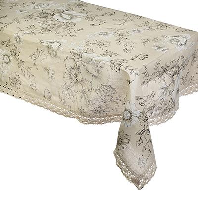 435-072 Скатерть на стол льняная с кружевом круглая, полиэстер, d160см