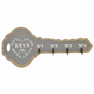 510-102 Ключница открытого типа, на 4 крючка, МДФ, 35,3х15,7см, 4 цвета