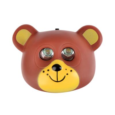 198-121 Фонарь налобный детский Медведь 2 ярк. LED, 3xAAA, 7х6х3.5см