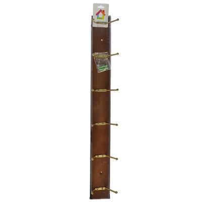 465-195 VETTA Вешалка настенная с 6-ю крючками (A -grade) 59х6,5х6см, коричневая, лак