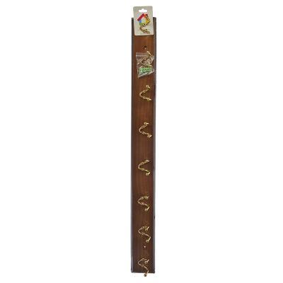 465-197 Вешалка настенная, 8 двойных крючков, 69х6,5х6см, коричневый, лак, VETTA