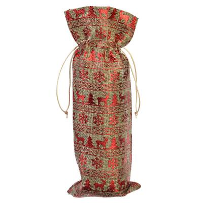 437-258 Мешочек из джута с золотинкой для бутылки вина, 14x37см, 3 дизайна