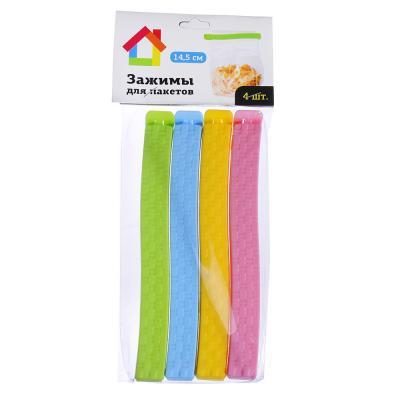 438-090 Набор зажимов для пакетов 4 шт, пластик, 14,5 см, 4 цвета