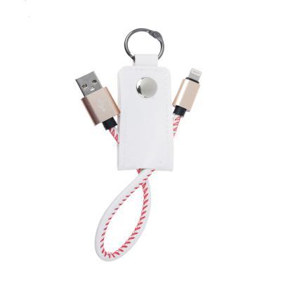 916-055 FORZA Кабель-брелок для зарядки iP, 1А, в кожаной оплетке с кольцом