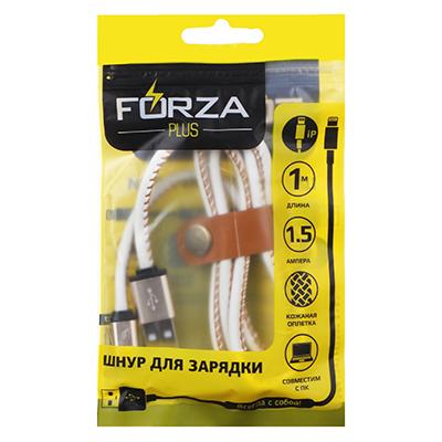 916-057 FORZA Шнур для зарядки оплетка белая кожа, 1А, 1 м, Эп