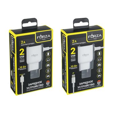 916-065 FORZA Зарядное устройство Micro Usb, 2 USB, 220 В, 1A, 1 м, пластик