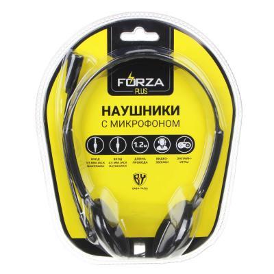916-098 Наушники FORZA с микрофоном компьютерные, накладные, черные, блистер