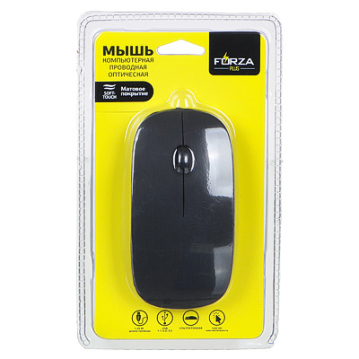 916-117 FORZA Компьютерная мышь проводная тонкая, провод 1,15 м, черный