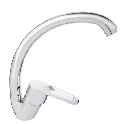 566-306 Смеситель Klabb 0307 для кухни с бок. ручкой, керам. картридж 40 мм, хром, без подв D