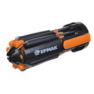 632-031 ЕРМАК Фонарь многофункциональный 8 в 1, набор отверток, 4 LED + 3 батарейки ААА, блистер