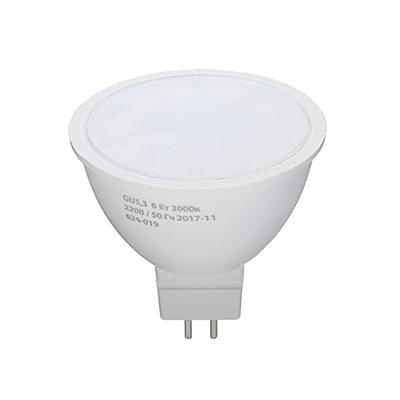 624-019 ЕРМАК Лампа светодиодная спот GU5,3, 6 Вт, 220 В, 3000К, теплый свет