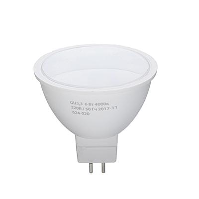 624-020 ЕРМАК Лампа светодиодная спот GU5,3, 6 Вт, 220 В, 4000К, холодный свет