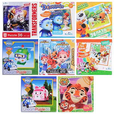 898-002 ОРИГАМИ Пазл 36 деталей Мультфильмы, картон, 22х22см, 4-8 дизайнов