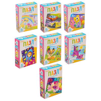 898-005 ОРИГАМИ Пазл 15 деталей Мультфильмы, картон, 18х13см, 12 дизайнов