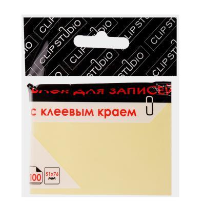 533-020 Блок для записей с клеевым краем, 51x76мм, 100 листов, желтый, ClipStudio