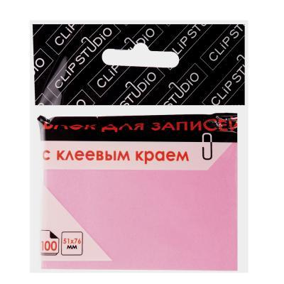 533-022 Блок для записей с клеевым краем, 51x76мм, 100 листов, розовый, ClipStudio