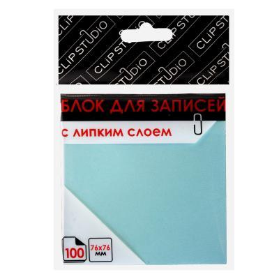 533-027 Блок для записей с клеевым краем, 76x76мм, 100 листов, голубой, ClipStudio