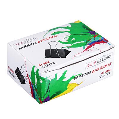 588-018 Зажимы для бумаг, металл, 41 мм, черные, 12 шт в картонной коробке ClipStudio