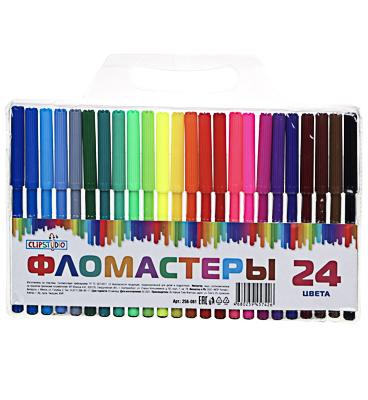 256-061 Набор фломастеров, 24 цветов, 12,7 см x 9 мм, с цветными колпачками, ClipStudio