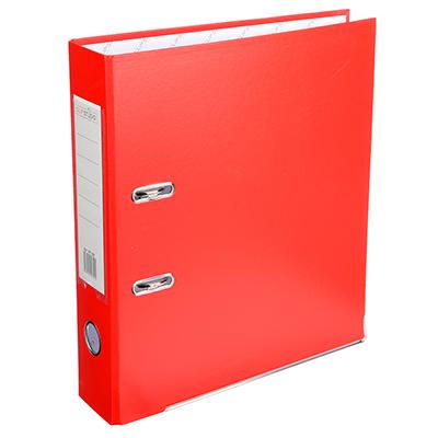 591-027 Папка с арочным механизмом A4 красная, корешок 7,5 см РР, с металлической окантовкой, ClipStudio