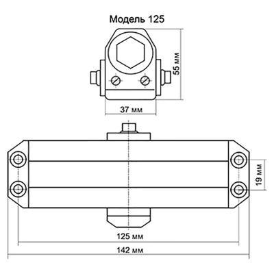 601-014 KORAL Доводчик дверной, морозоустойчивый, HD-125 (0-40кг) античная медь