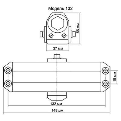 601-015 KORAL Доводчик дверной, морозоустойчивый, HD-132 (40-60кг) античная медь