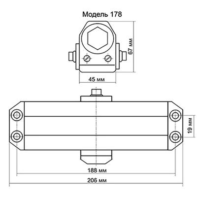 601-017 KORAL Доводчик дверной, морозоустойчивый, HD-178 (80-100кг) серебро