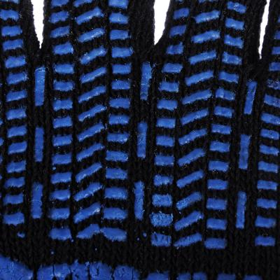 638-017 ЕРМАК Перчатки вязаные х/б двойные, зимние, с ПВХ покрытием, 5 нитей, черные, 120гр