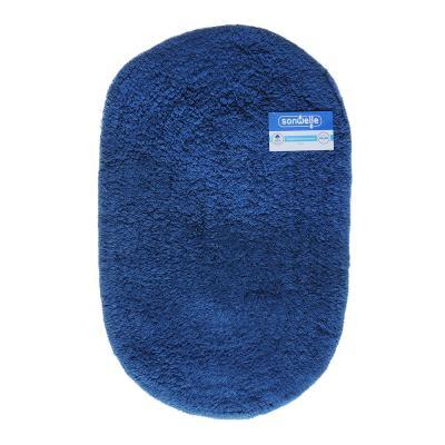 599-040 Коврик для ванной Овал 40х60см, хлопок, б/п, микс 2 цвета: бежевый, синий