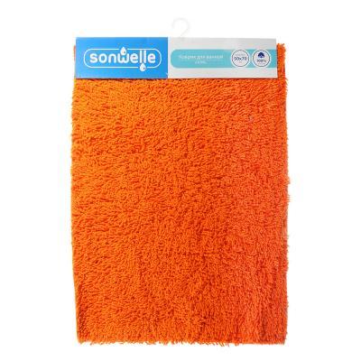 599-046 Коврик для ванной Петля 50х70см, хлопок, б/п, оранжевый