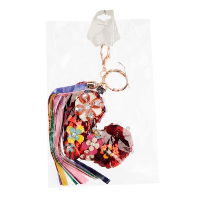 519-356 Брелок-подвеска в виде сердца, перламутровый, акрил, металл, 12-14см