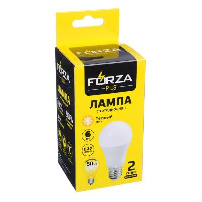 925-049 FORZA Лампа светодиодная A60, 6W, 3000K, 510lm E27