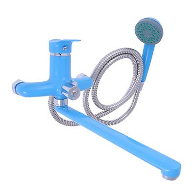 566-370 Смеситель Klabb 21 для ванны, дл. прямой излив 30см, дивертор, керам. картридж 35мм, голуб глянец D