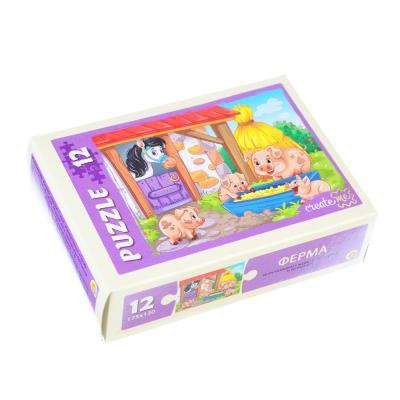 898-007 РЫЖИЙ КОТ Пазлы 12 деталей микс, картон, 17,5х13см, 16 дизайнов, П-12-5640
