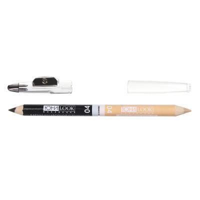 330-284 Карандаш для макияжа двойной с точилкой, тон 04 черный/бежевый, 1гх2, ЮниLook К-19