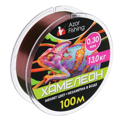 "144-067 AZOR FISHING Леска, ""Хамелеон"" 100м, 0,30мм, разрывная нагрузка 13 кг"