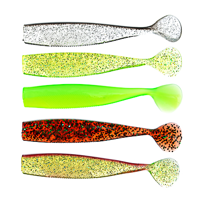 145-083 AZOR FISHING Приманка мягкая Виброхвост 4.5, силикон Премиум, 110 мм, 3 шт. в уп., микс цветов