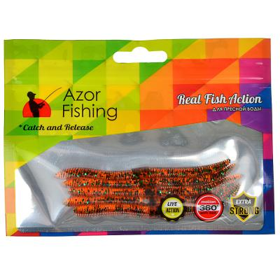 145-088 AZOR FISHING Приманка мягкая Червяк 4.0, силикон Премиум, 100 мм, 5 шт. в уп., микс цветов