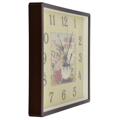 """581-665 Часы настенные квадрат 30х30см, пластик, корпус коричневый """"De cafe"""" 3028-128 (10)"""