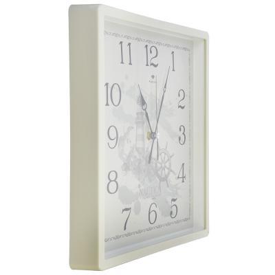 "581-666 Часы настенные квадрат, пластик, 30х30см, белый, ""Морские"""